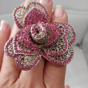 Sparkling pink crystals, silver stone ring.